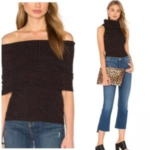 Free People Brown Ribbed Cowl Neck Sweater